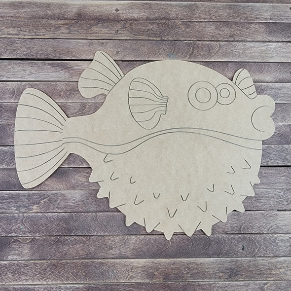 Puffy Fish, Paint by Line, Wood Craft Cutout