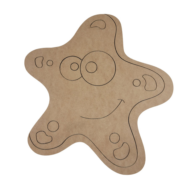 Star Fish Shape Design, Paint by Line ,Wood Craft Cutout