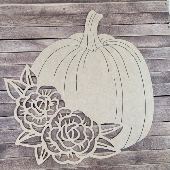 Pumpkin With Flowers Cutout, Paint by Line, Wood Craft Shape