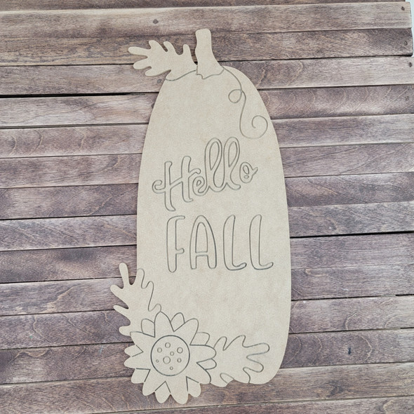 """""""Hello Fall"""" Pumpkin with Flowers, Paint by Line, Wood Craft Cutout"""