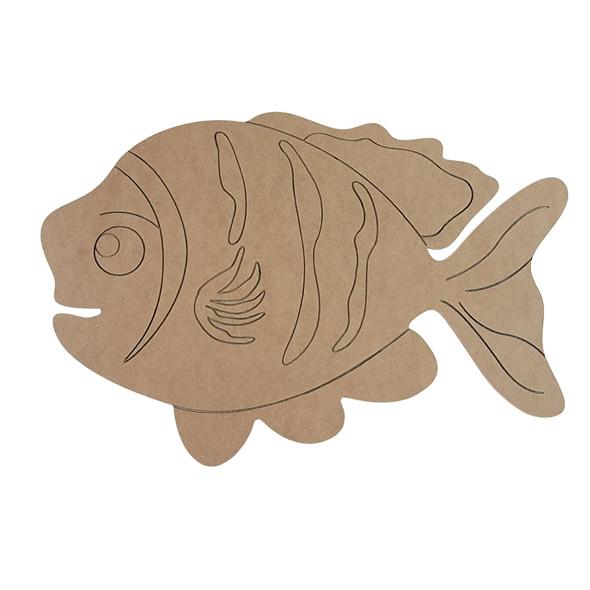 Fishy Fish Shape, Paint by Line, Wood Craft Cutout