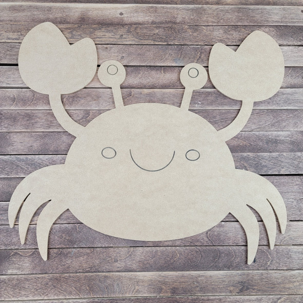 Crab Design, Paint by Line, Wood Craft Cutout