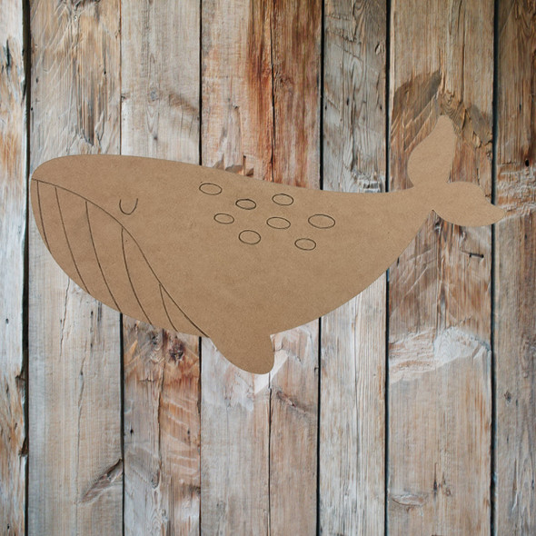 Swimming Whale Shape, Paint by Line, Wood Craft Cutout
