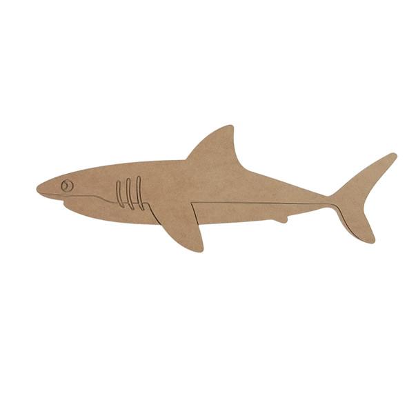 Straight Line Shark Shape, Paint by Line, Wood Craft Cutout