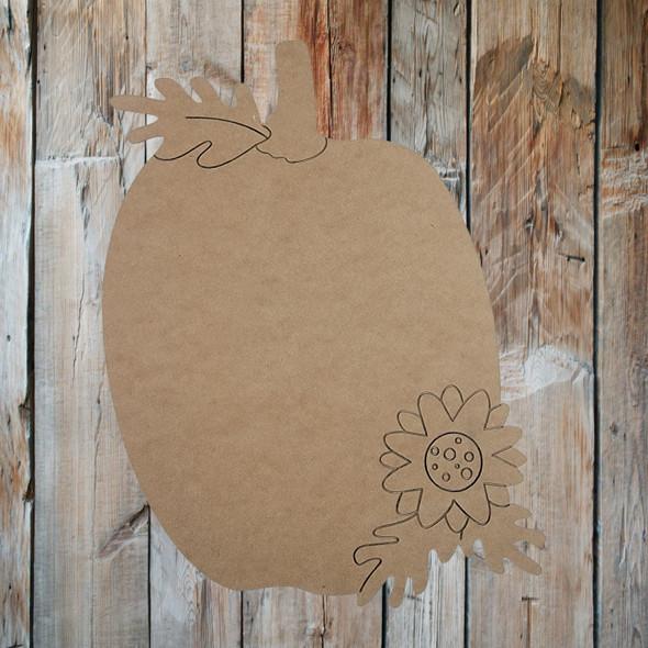 Pumpkin & Floral Wooden Cutout, Paint by Line ,Wood Craft Cutout