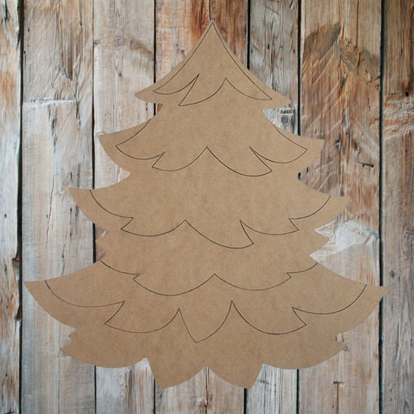 Christmas Tree with Lots of Branches, Paint by Line, Wooden Craft Cutout
