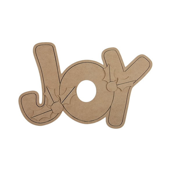 Joy Words & Holly Berries (3-piece set), Paint by Line, Wooden Craft Cutout