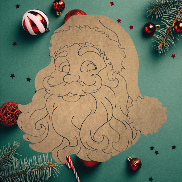 Retro Santa Head Cutout, Unfinished Wooden Craft, Paint by Line