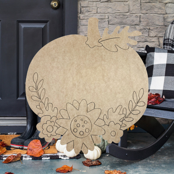Fall Pumpkin with Decorative Fall Flowers Wooden Shape, Paint by Line ,Wood Craft Cutout