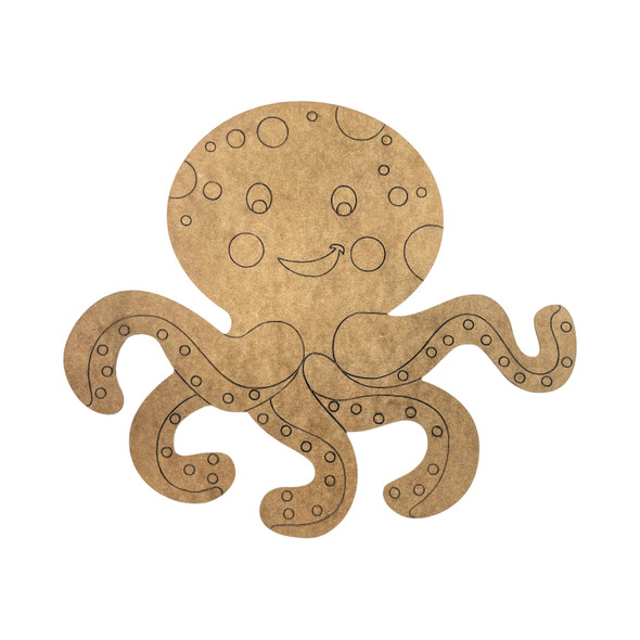 Cheerful Octopus, Unfinished Craft, DIY Art, Paint By Line