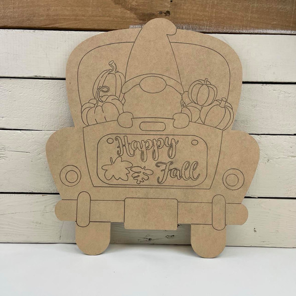 Fall Gnome Truck, Unfinished Wood Cutout, Paint by Line