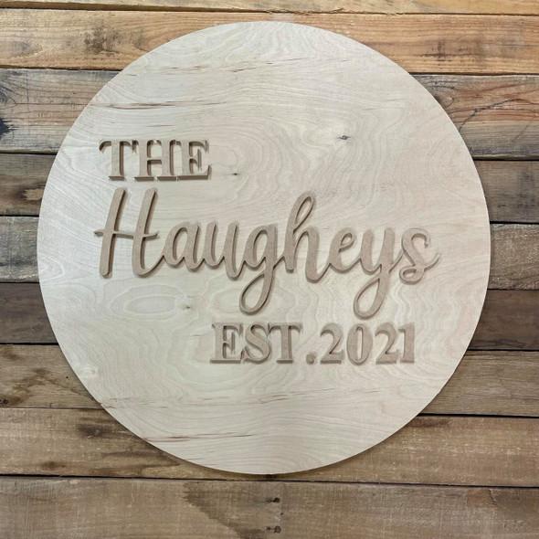 "Personalized Wedding Sign, Surname Established Date Sign, Unfinished 24"" Pine Circle Sign Kit"
