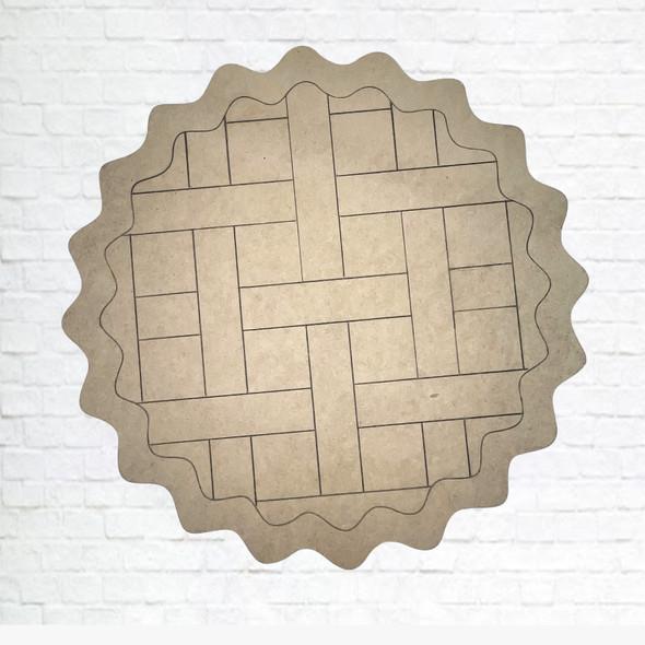Lattice Crust Pie, Unfinished Wood Cutout, Paint by Line
