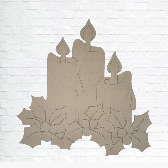 Christmas Candles,  Unfinished Wood Cutout, Paint by Line