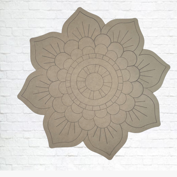 Flower Blossom, Unfinished Wood Cutout, Paint by Line
