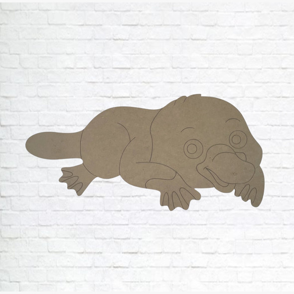 Duck-billed platypus, Unfinished Wood Cutout, Paint by Line