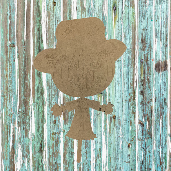 Big Head Scarecrow on Stake, Unfinished Wood Cutout, Paint by Line
