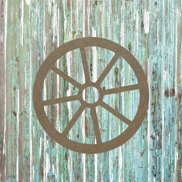 Wagon Wheel, Unfinished Wood Cutout, Paint by Line