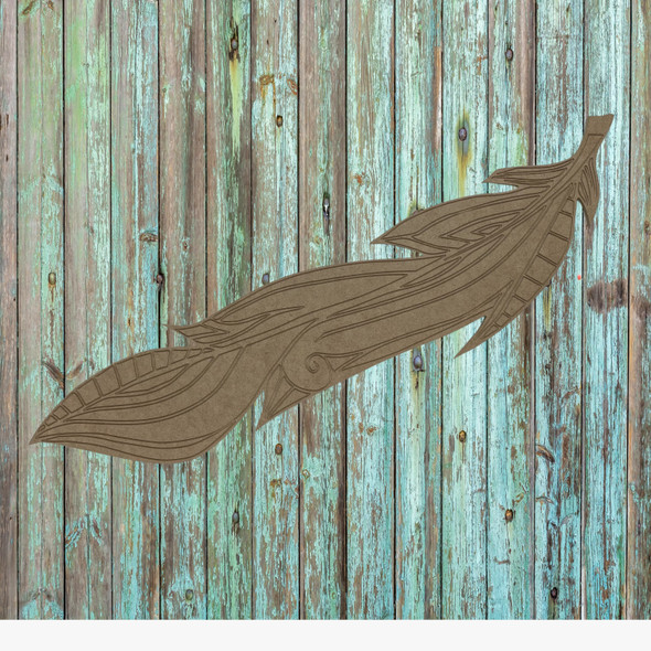 Straight feather,  Unfinished Wood Cutout, Paint by Line