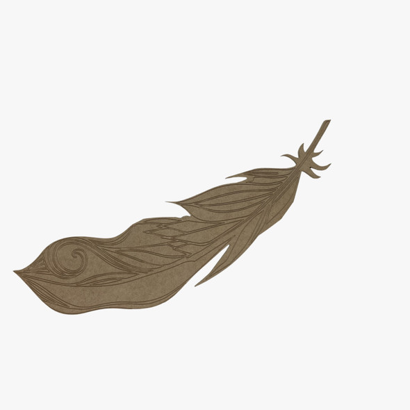 Bent feather,  Unfinished Wood Cutout, Paint by Line