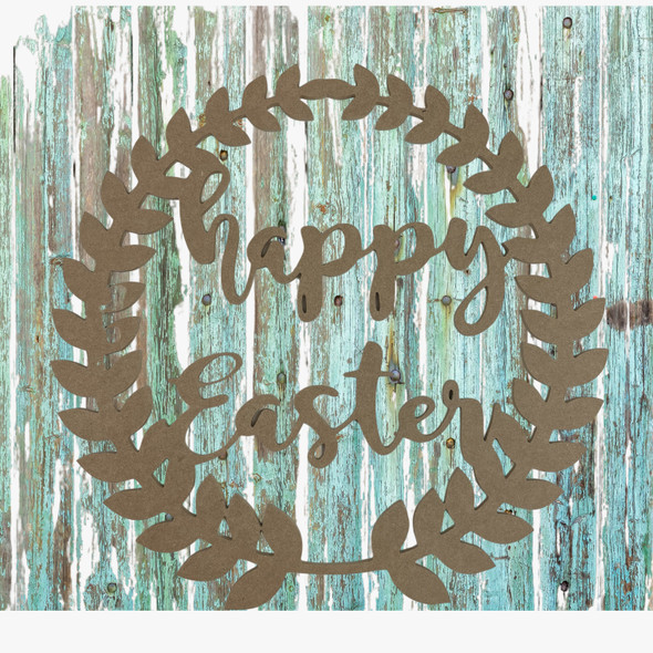 Happy Easter Roman Wreath,  Unfinished Wood Cutout, Paint by Line