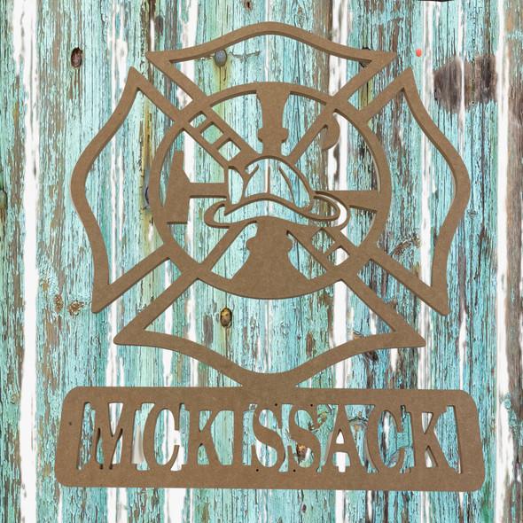 Custom Fireman Maltese Name Frame, Unfinished Wood Cutout