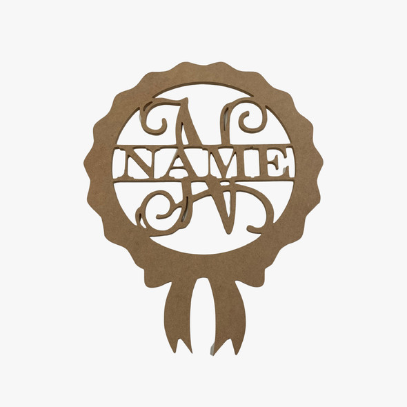 Name Frame with Ribbon, Unfinished Custom Name Frame Wood Cutout