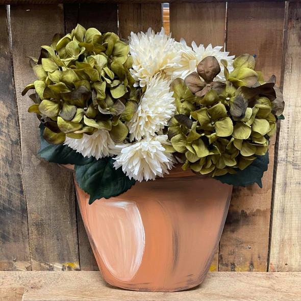 Terracotta Flower Pot Base for Artificial Flowers,  Wood Cutout, Paint by Line