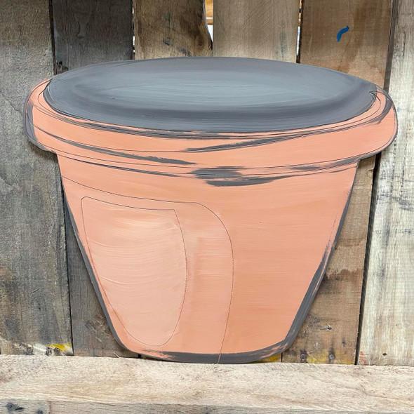Terracotta Flower Pot  Wood Cutout, Paint by Line