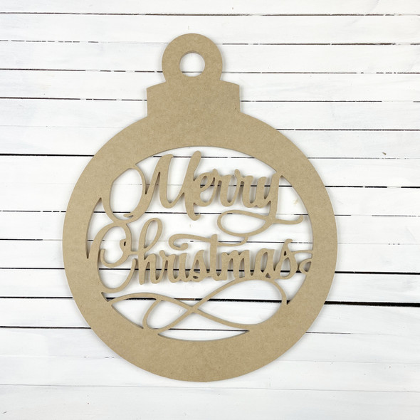 Merry Christmas Ornament 1 DIY (MDF) Cutout - Unfinished  Craft