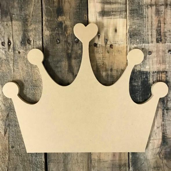 Crown Heart, Wood Cutout, Shape