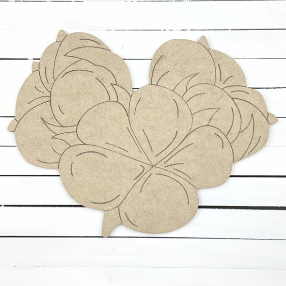 Cotton Boll Trio, Unfinished Wooden Cutout