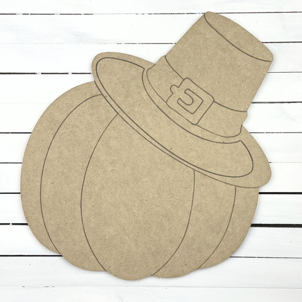 Pumpkin with Pilgrim Hat, Unfinished Wooden Craft Cutout