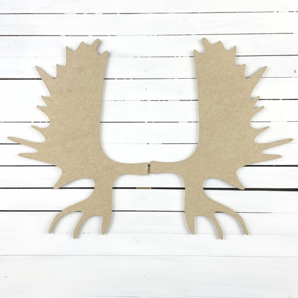 Moose Antlers, Unfinished Wooden Craft Cutout