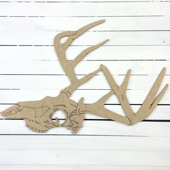 Deer Antler Side Skull Mount, Unfinished Wooden Craft Cutout
