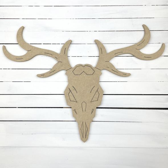 Deer Antler Skull Wall Mount, Unfinished Wooden Craft Shape