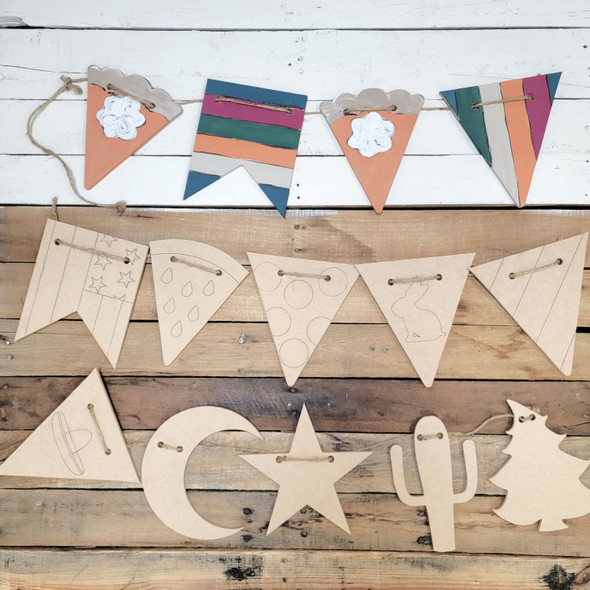 Custom Garland Hanging Shapes, Build Your Own Flag Garland for Any Occassion