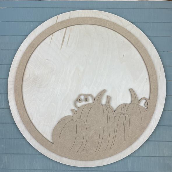 "Pumpkin Circle Door Hanger, Unfinished 18"" Pine Circle Sign Kit, MDF Pumpkin Round Outline"