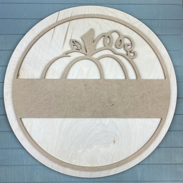"""Pumpkin Circle Name Frame Door Hanger, Unfinished 18"""" Pine Circle Sign Kit, MDF Pumpkin Round Outline"""