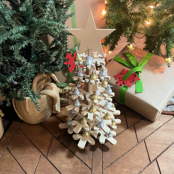 Stackable Snowflake Tree, Unfinished MDF Craft Project