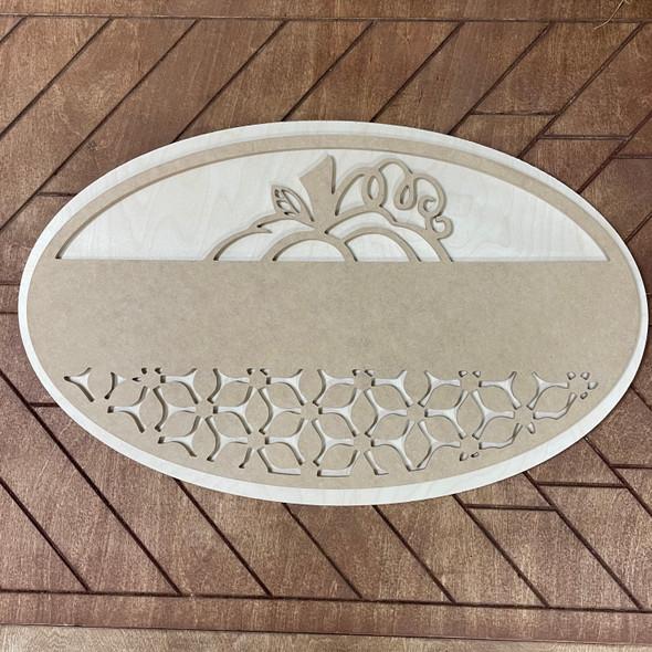 Boho Layered Kit, Pine Oval & Pumpkin MDF Top, DIY Craft