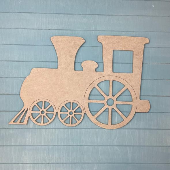 Train Locomotive, Unfinished MDF Craft Shape
