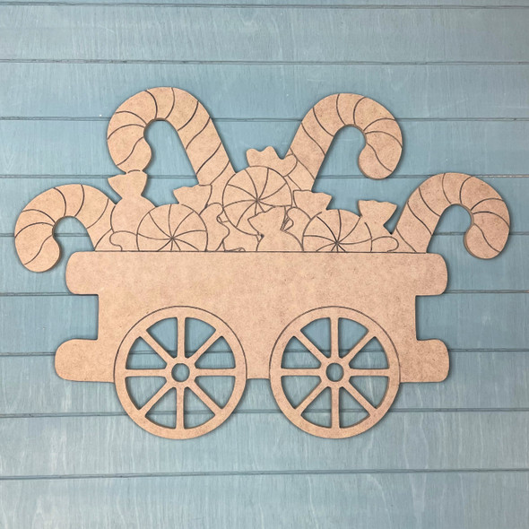 Train Cart - Candy Cane & Peppermint Cargo, Unfinished MDF Craft Shape