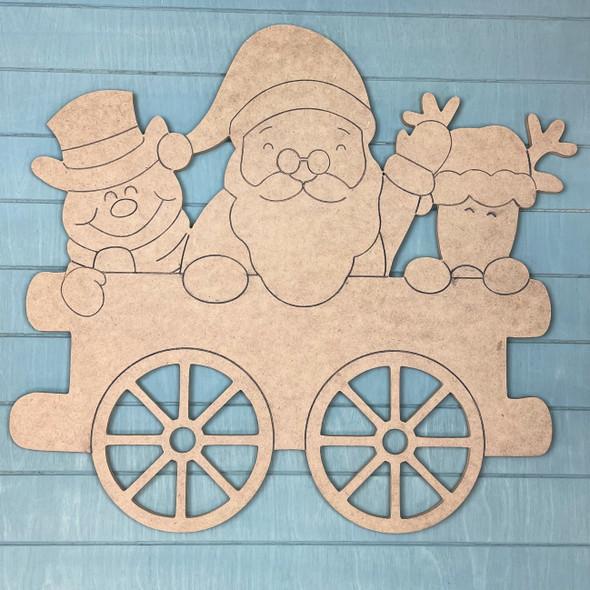 Train Cart - Santa, Frosty, & Rudolph Cargo, Unfinished MDF Craft Shape