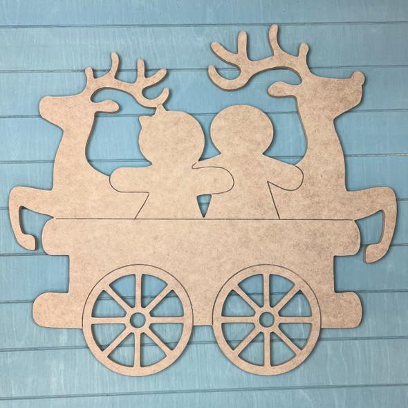 Train Cart - Reindeer & Gingerbread Men Cargo, Unfinished MDF Craft Shape