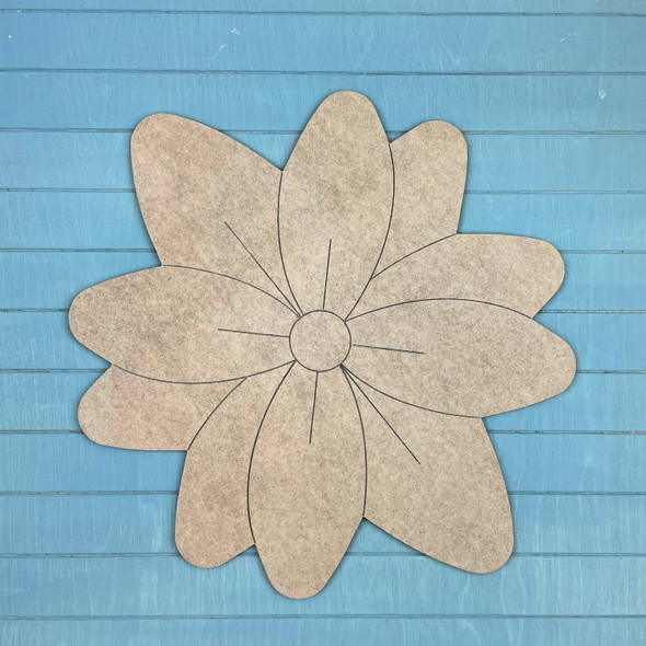 Spring Flower Paint by Line, Unfinished MDF Craft Shape
