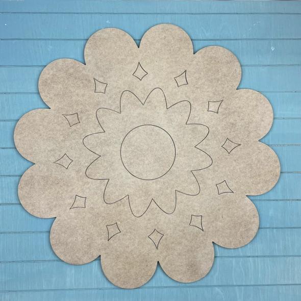 Kaleidoscope Flower Paint by Line, Unfinished MDF Craft Shape