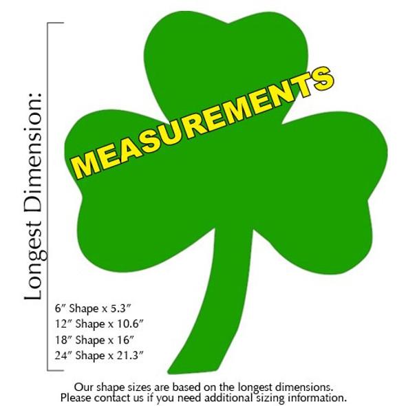 3 leaf clover Unfinished CutoutB MEASUREMENTS