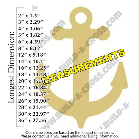 Anchor Unfinished Cutout Paintable Wooden MDF measurements