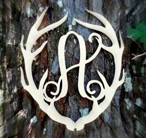 Antler Monogram Framed Letter Wooden Unfinished Craft-A